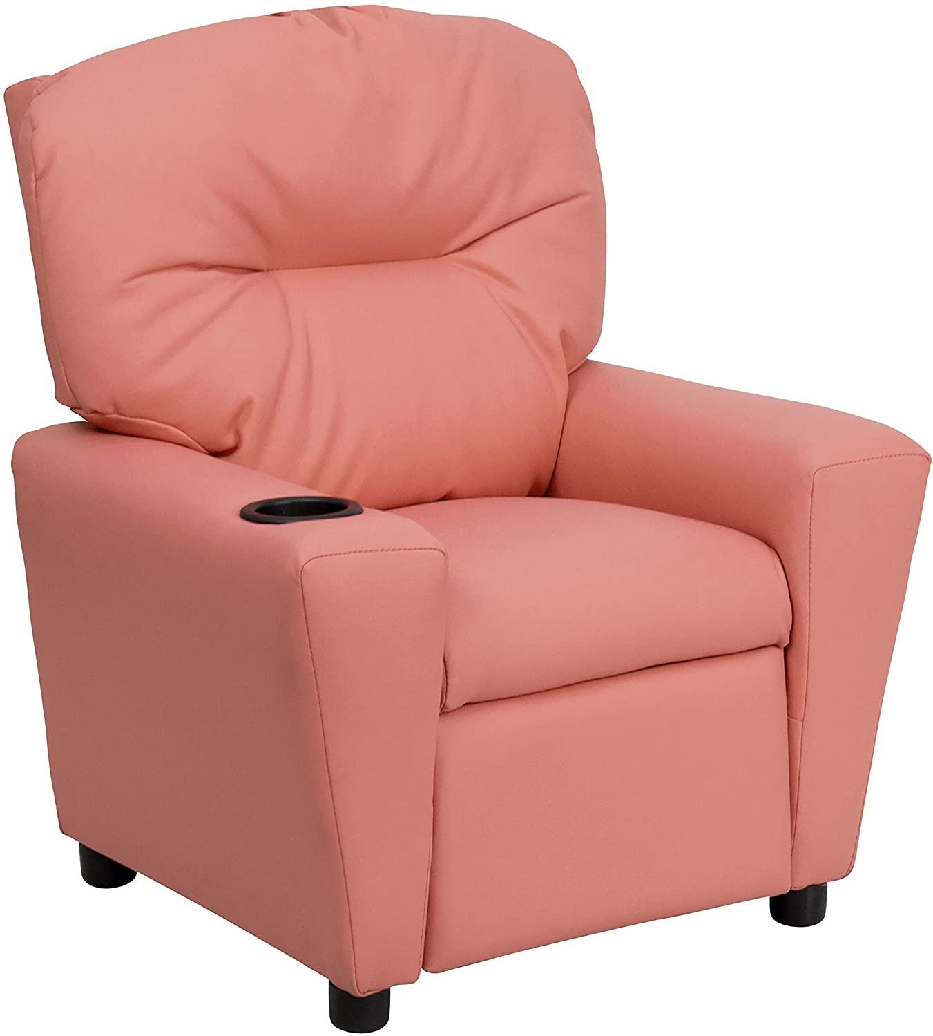 10.Contemporary Pink Vinyl Kids Recliner with Cup Holder